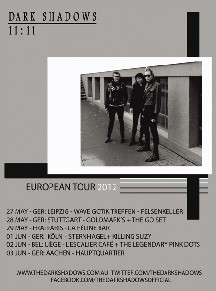 Dark Shadows European Tour Dates 2012