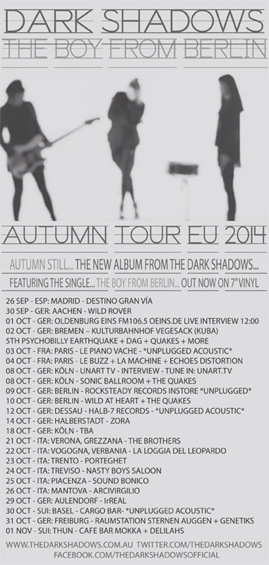 Autumn Tour DAtes 2014